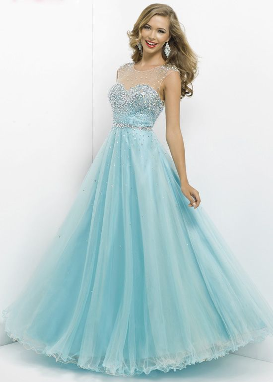 Pink by Blush 5306 - Powder Blue/Nude Ball Gown Prom Dresses ...