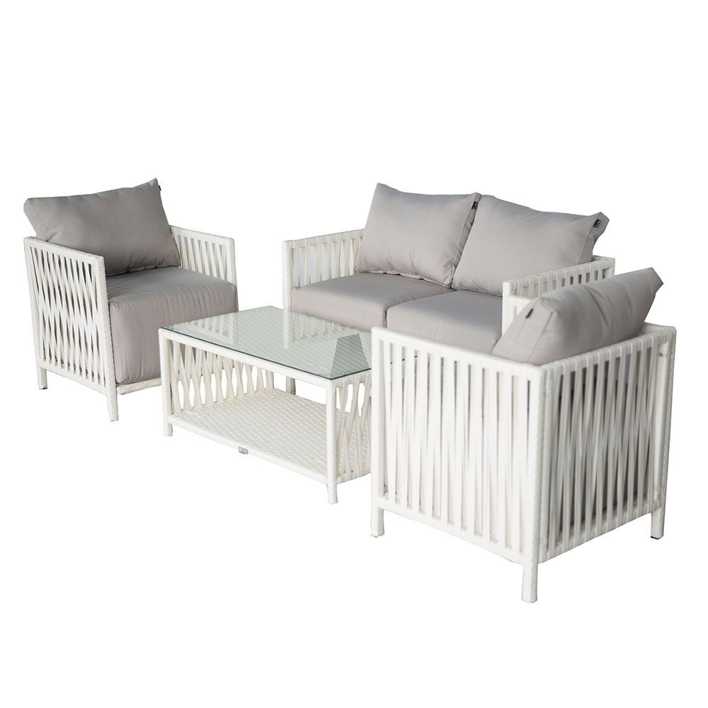 Buy Faros Wicker Outdoor Sofa Set and Milan 2-in-1 Fire Pit & - Buy Faros Wicker Outdoor Sofa Set And Milan 2-in-1 Fire Pit & BBQ