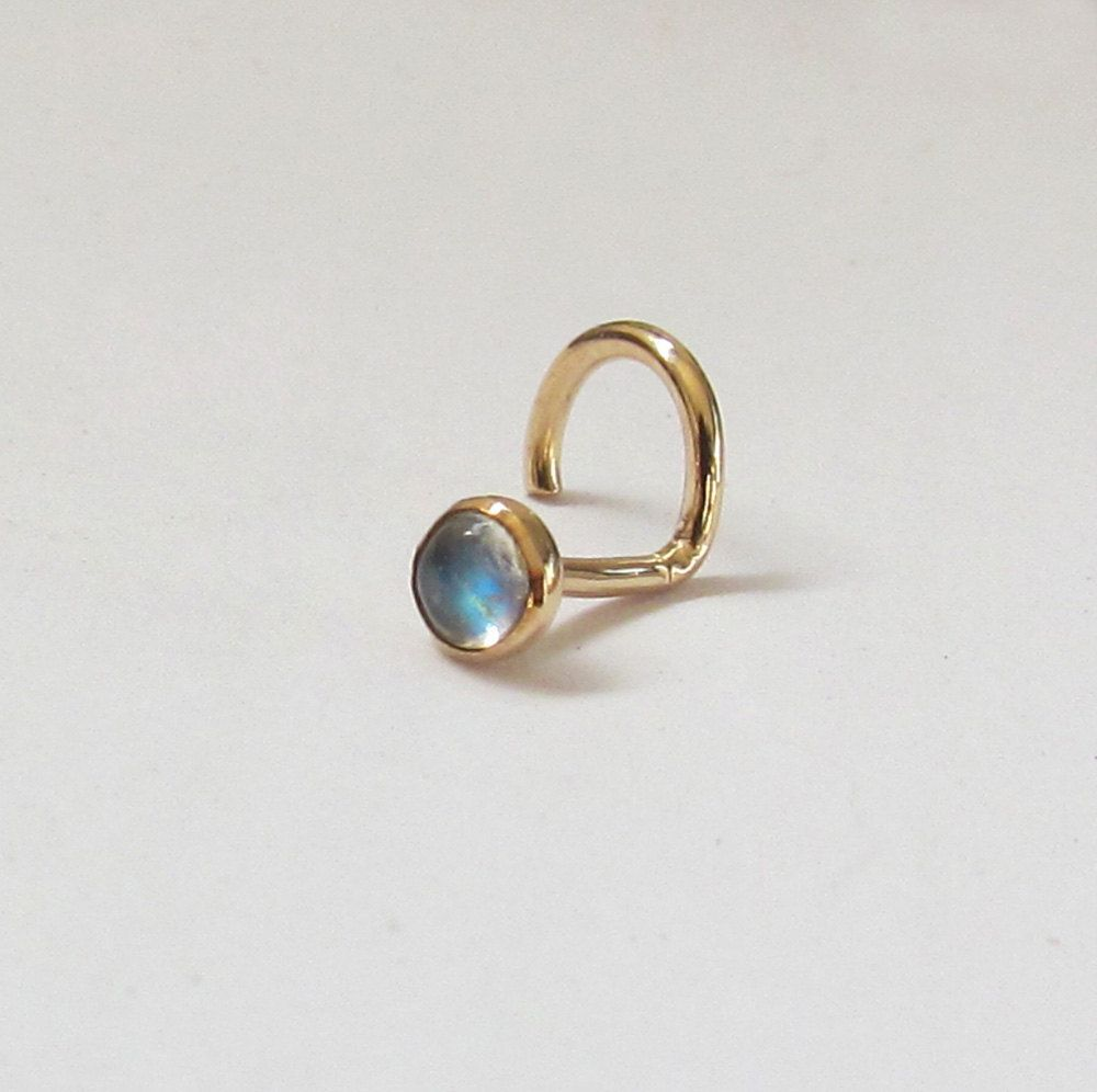 Nose piercing hoop vs stud  Moonstone Stud k Solid Yellow Gold or Rose Gold Nose Ring or