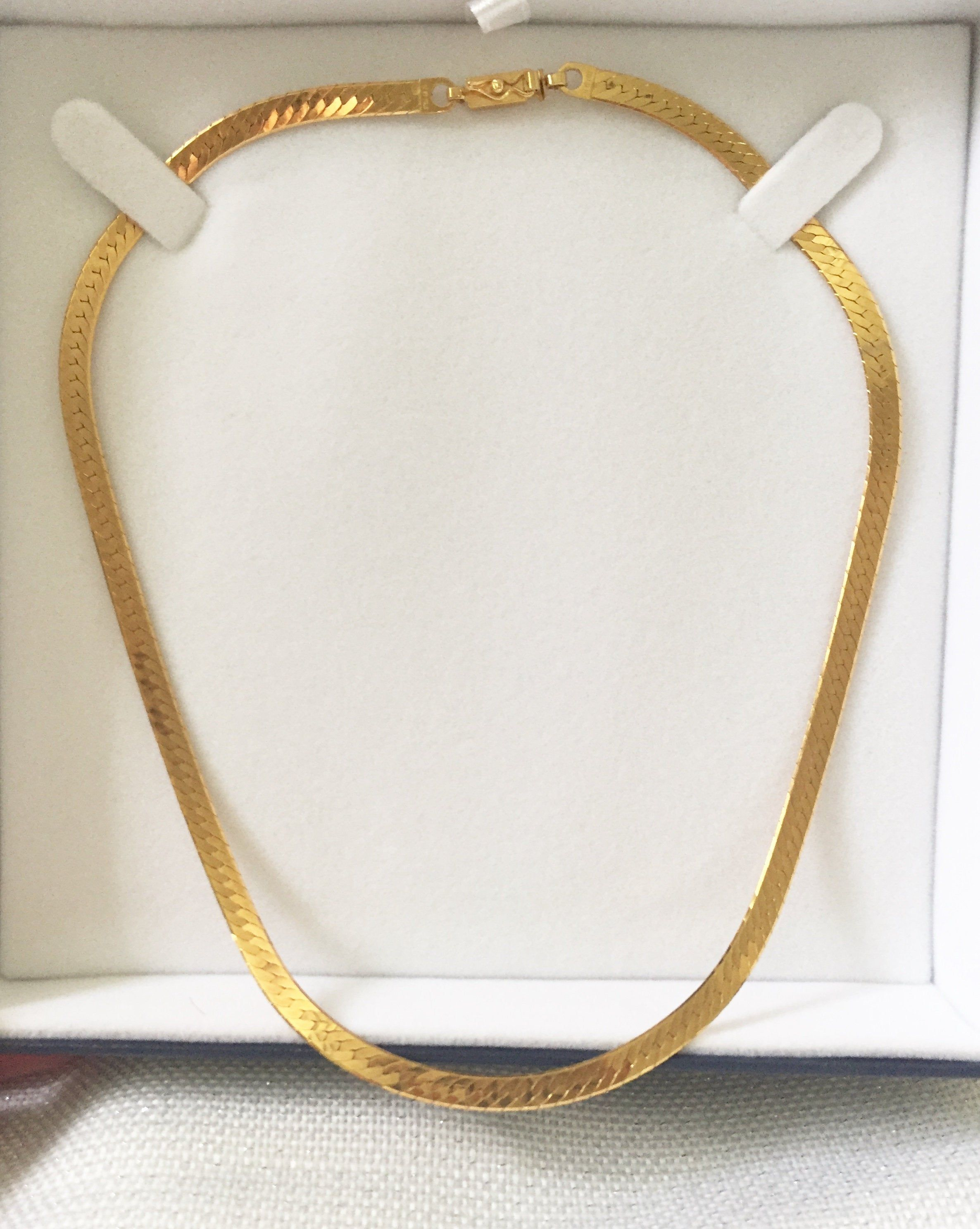Herringbone Chain 14k Yellow Gold 4mm 16 Length 1980 S Vintage Made In Italy Layering Chain Necklace New Old Stock Gold Herringbone Chain Layered Chain Necklace 14k Yellow Gold