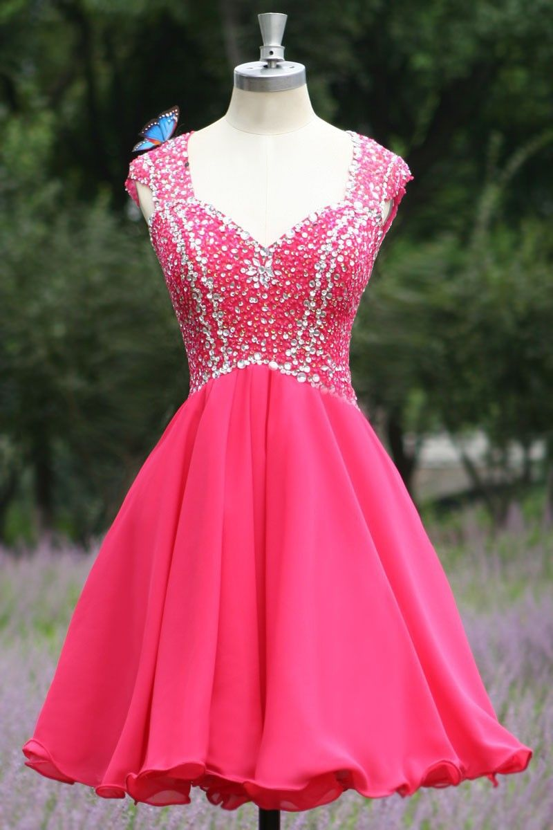 Tidetell.com Exquisite A-line Cap Sleeves Chiffon Homecoming Dress ...