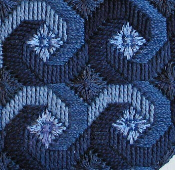 Bordado recto en tonos azules needlepoint Pinterest