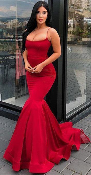 Elegant Spaghetti Strap Mermaid Prom Dresses Long Red Evening Gowns Rote Abendkleider Meerjungfrauenkleider Rote Abtanzkleider