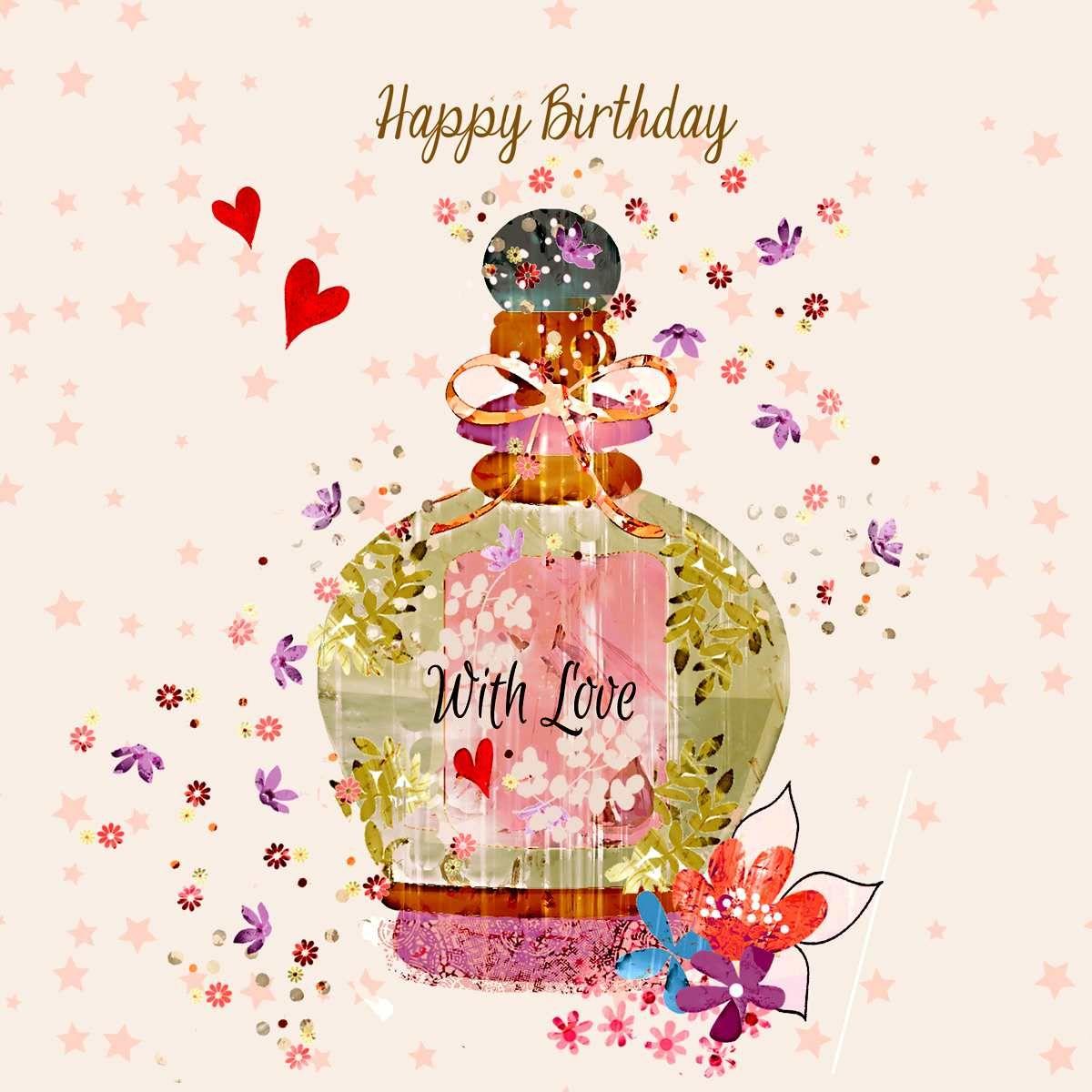 Vintage Perfume Bottle Birthday Card
