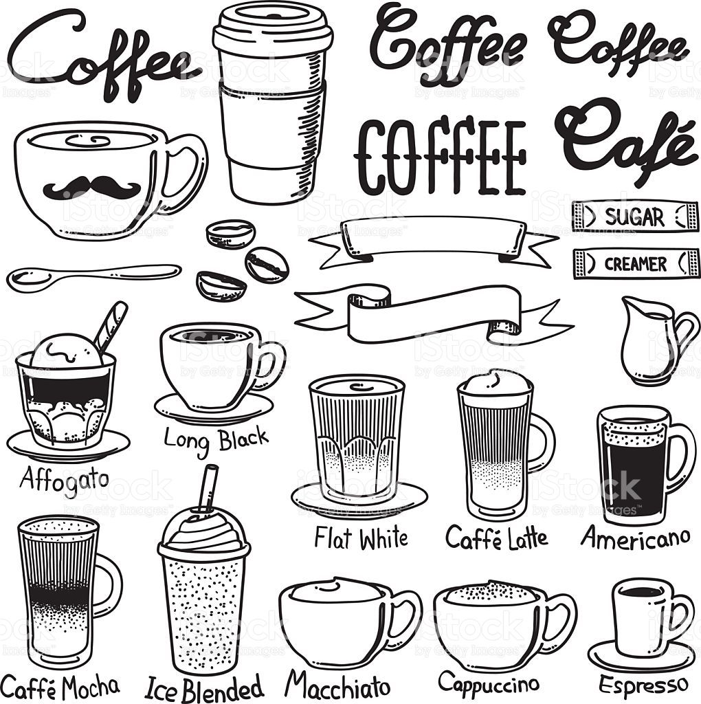 A set of coffee related icon set. Every icon is grouped