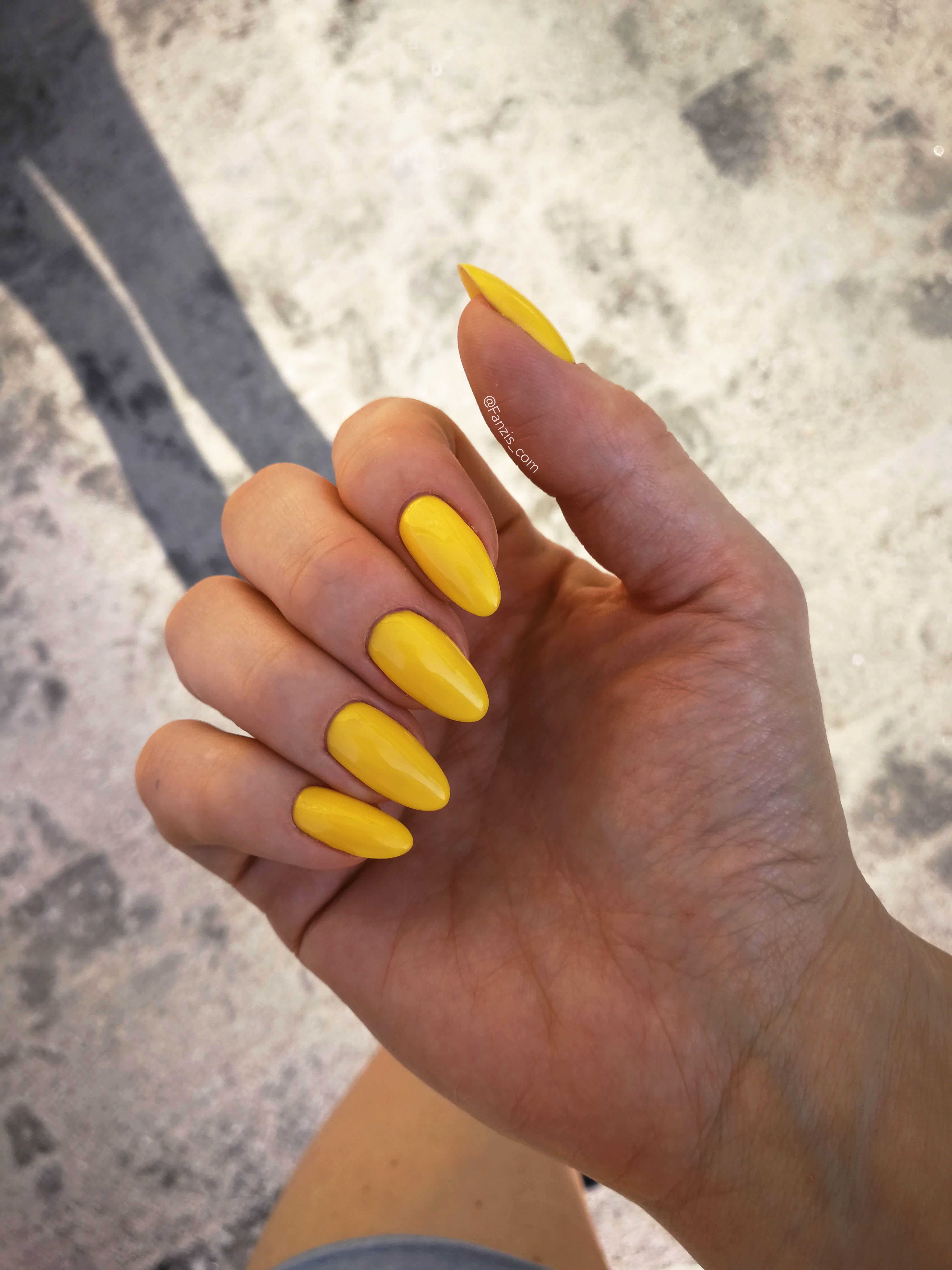 Bright Mustard Yellow Gelpolish Nails Halo From Madam Glam Acrylic Nails Yellow Almond Nails Designs Yellow Nails Design