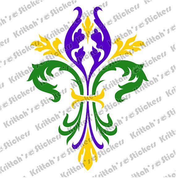 Fluer De Lys Mardi Gras Colors Vinyl Decal 6 X 8 Inches K345 Mardi Gras Mardi Gras Crafts Mardi Gras Shirt