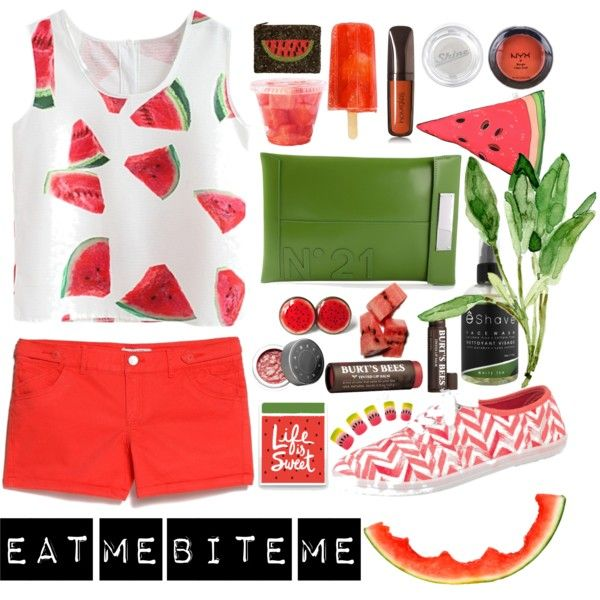 Watermelon by kee-lee-yin-ki on Polyvore featuring polyvore fashion style MANGO maurices N°21 Santi NYX Hourglass Cosmetics Lipstick Queen Becca ESHAVE Burt's Bees Silken Favours