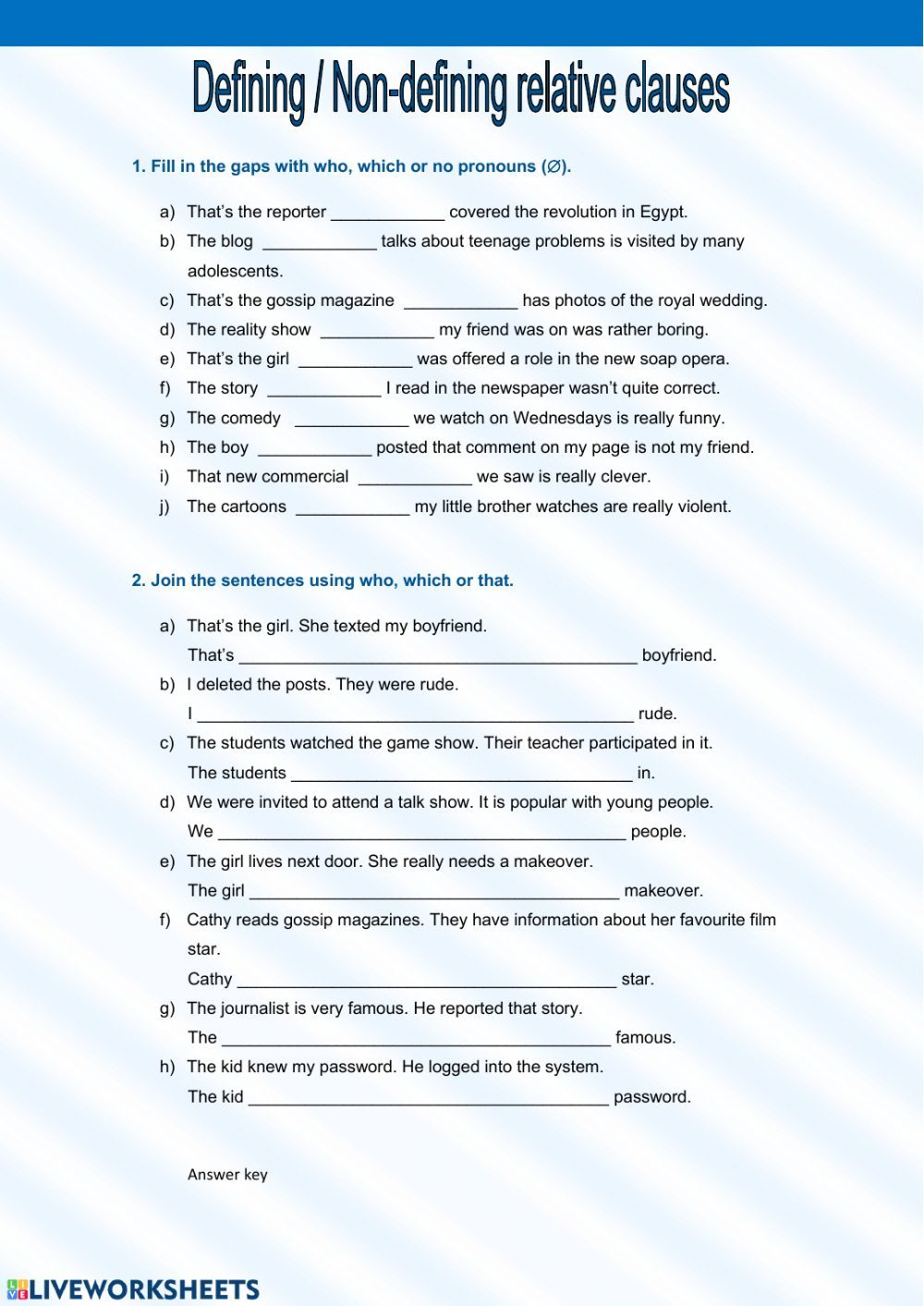 Relative Clauses online worksheet and pdf. You can do the