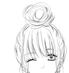 Shoujo Bun Hair Sok Pa Google Sketches Art Drawings