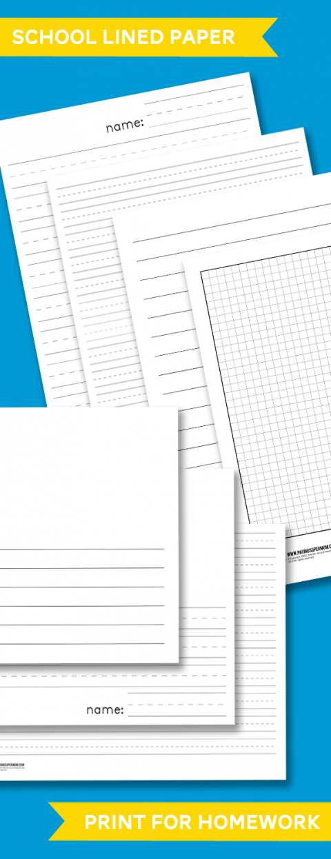 FREE* Printable Lined Papers for School | Third Grade | School ...