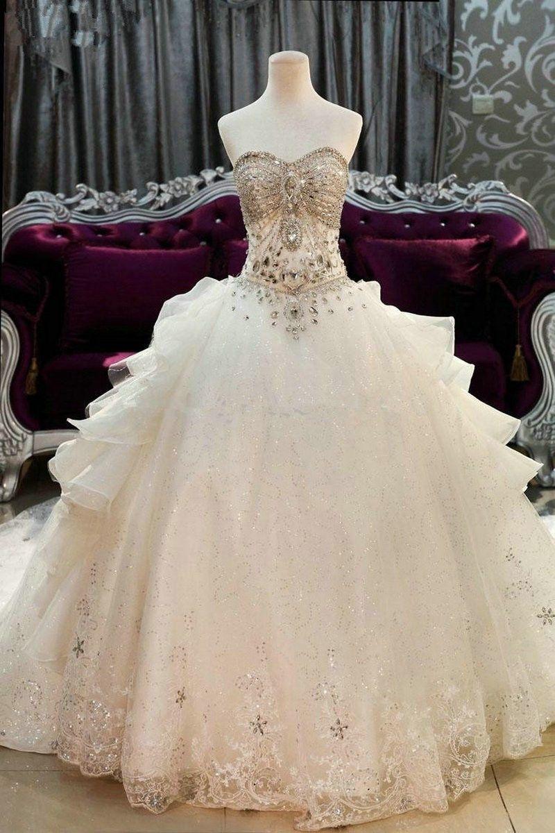 Name brand wedding dresses  Cathedral Train Wedding Dresses Luxury Crystal Beaded Sweetheart