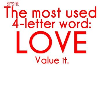 the most used 4 letter word love value it google image result