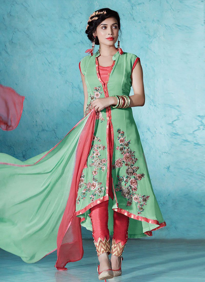 2f6cea99d82 Embroidered Pista Green Straight Pant Suit Salwar Kameez Designs Catalogue