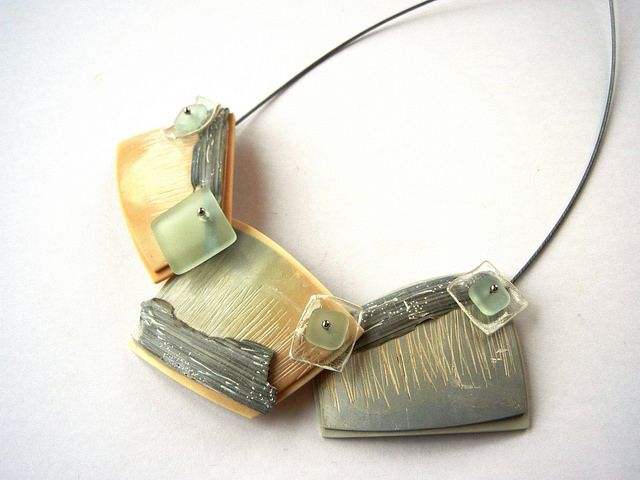 """Driftwood"" - polymer clay necklace by Sonya Girodon."