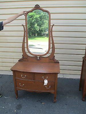 52488 Antique Oak Vanity Dresser Chest W Mirror Ebay