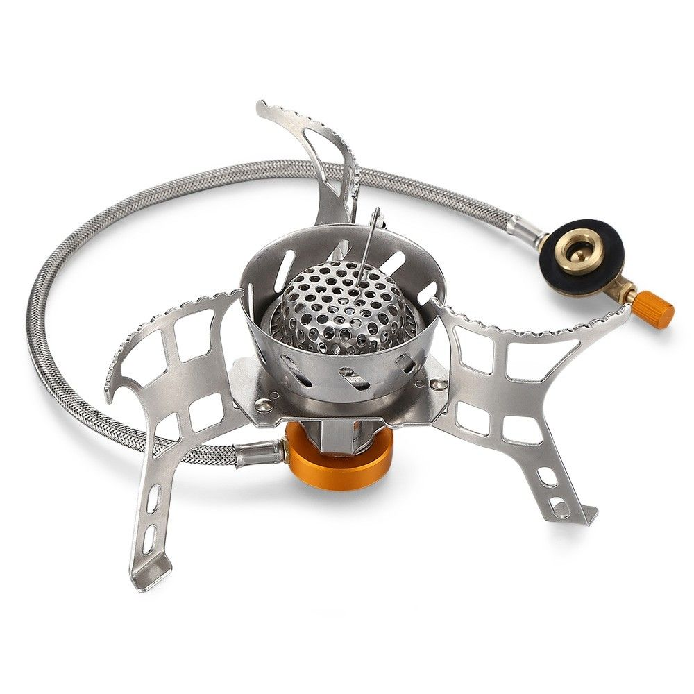 grey Camping Stove Portable Windproof Outdoor Backpacking Stove Lightweight Picnic Cooking Burner Head