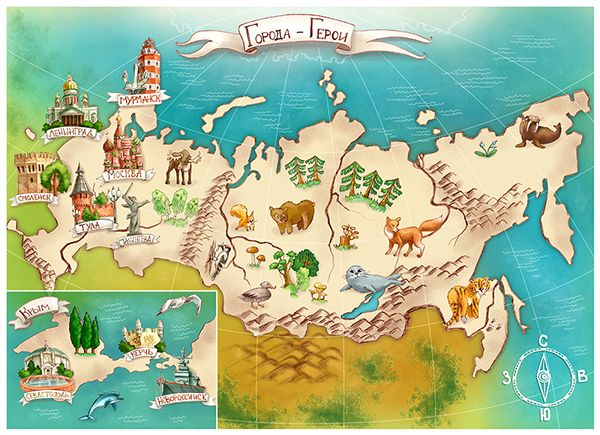 Map Of Russia For Kids.Illustrations For A Children S Magazine Hero City Map Russia