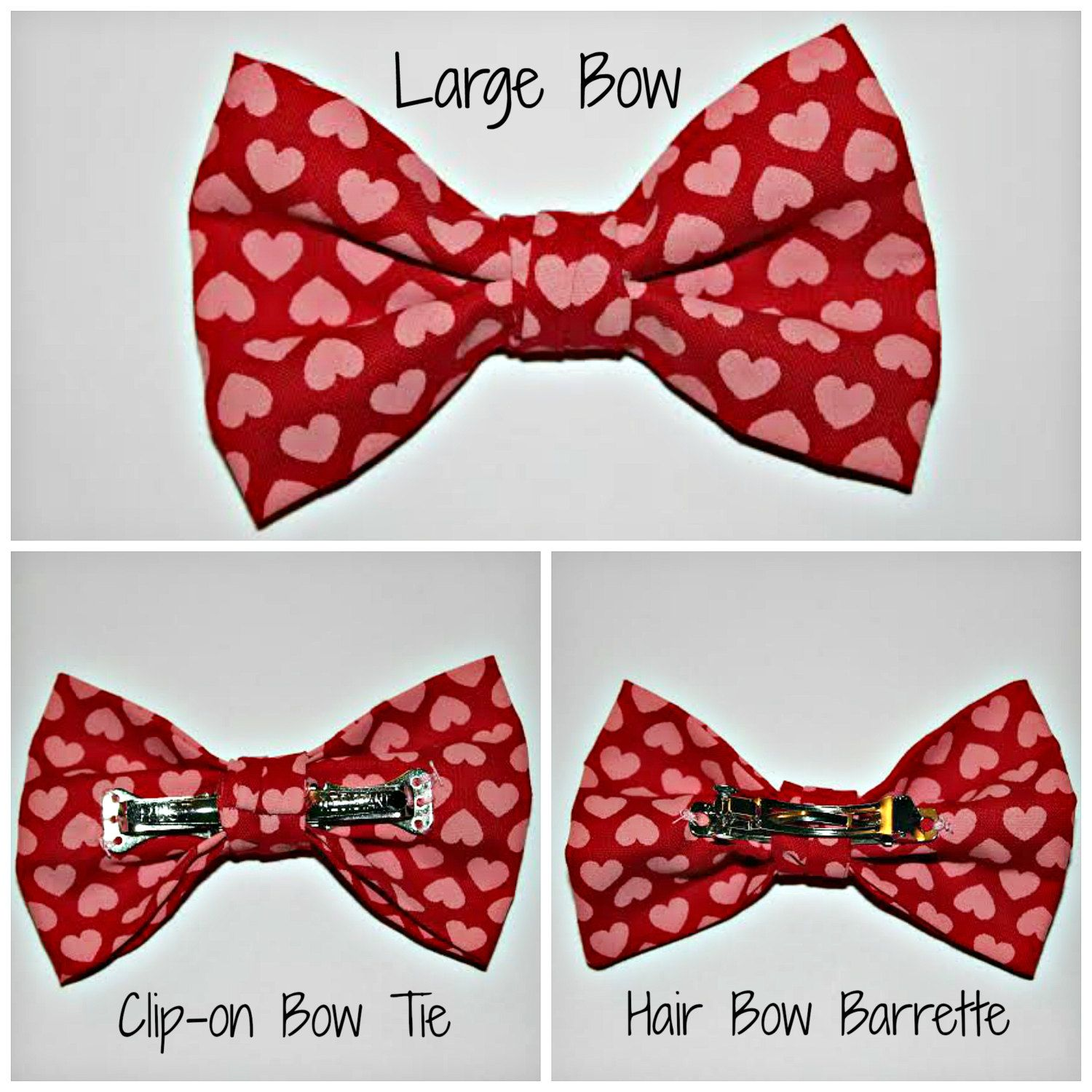 c.c. sew NEW LISTING!! In time for Valentine's Day!  Clip-on Bow Tie or Hair Bow - Classic Valentine Hearts Pink Red- Boy Girl Mom Matching Coordinate Twins Sibling Family Clip-on Barrette Fun by ccsewSHOP on Etsy