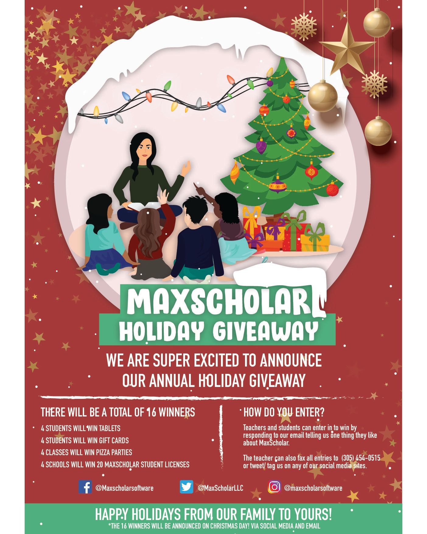 Maxscholar holiday giveaway there will be a total of 16