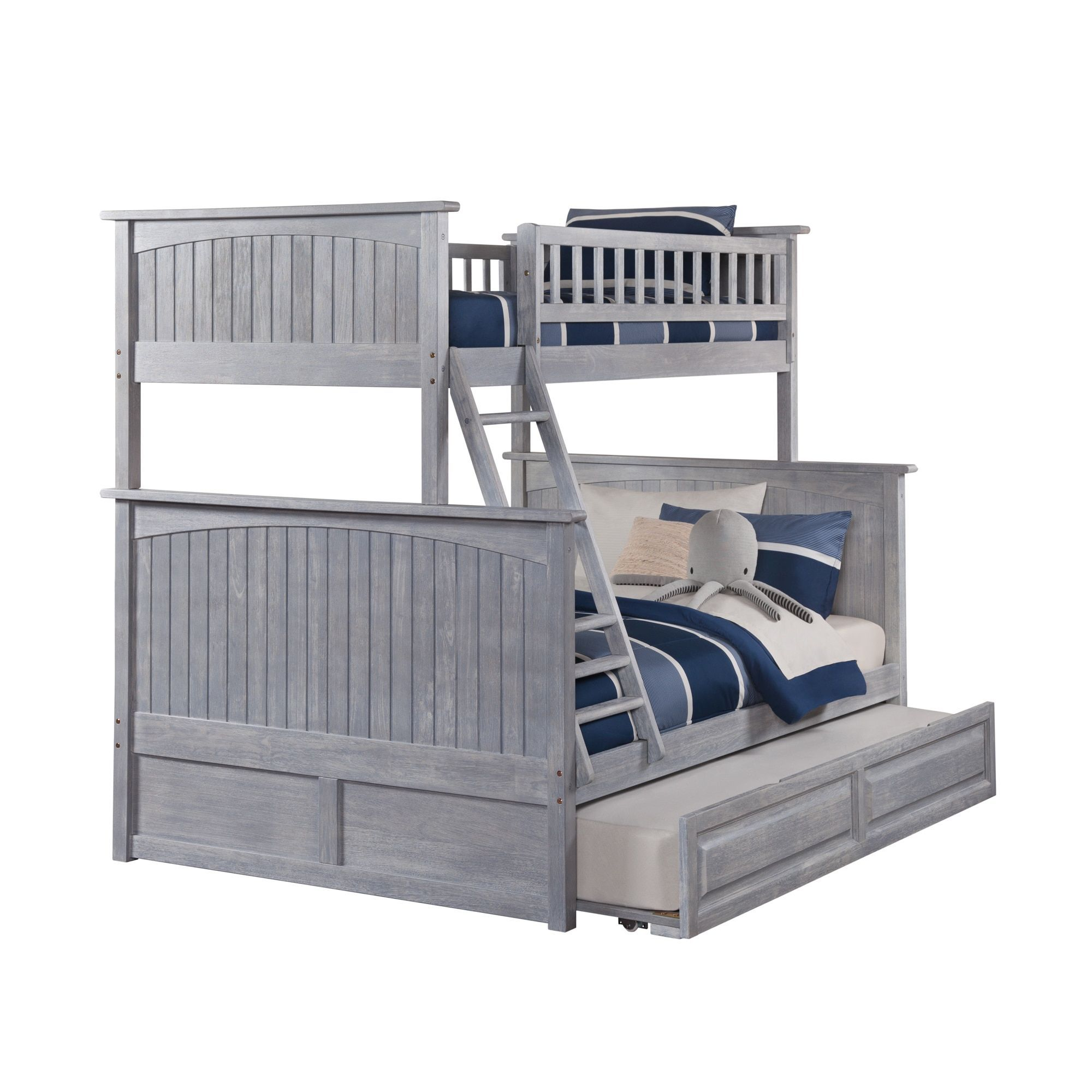 Grey Panelling Under Stairs: Nantucket Driftwood Washed Grey Twin Over Full Bunk Bed