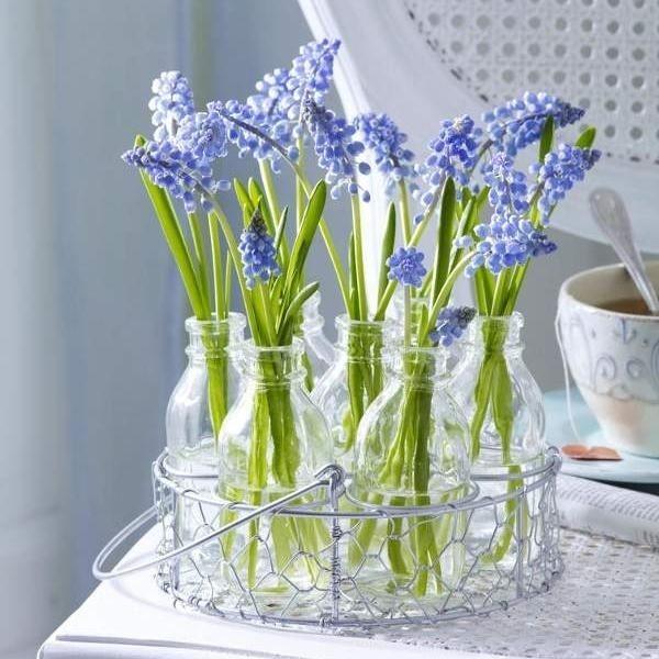 Tischdeko frühlingsblumen im glas  frühlingshafte blumenarrangements-glas flieder-farben blau | Deko ...