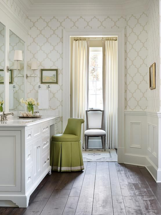 Chic Dressing Room Features Upper Walls Clad In White And