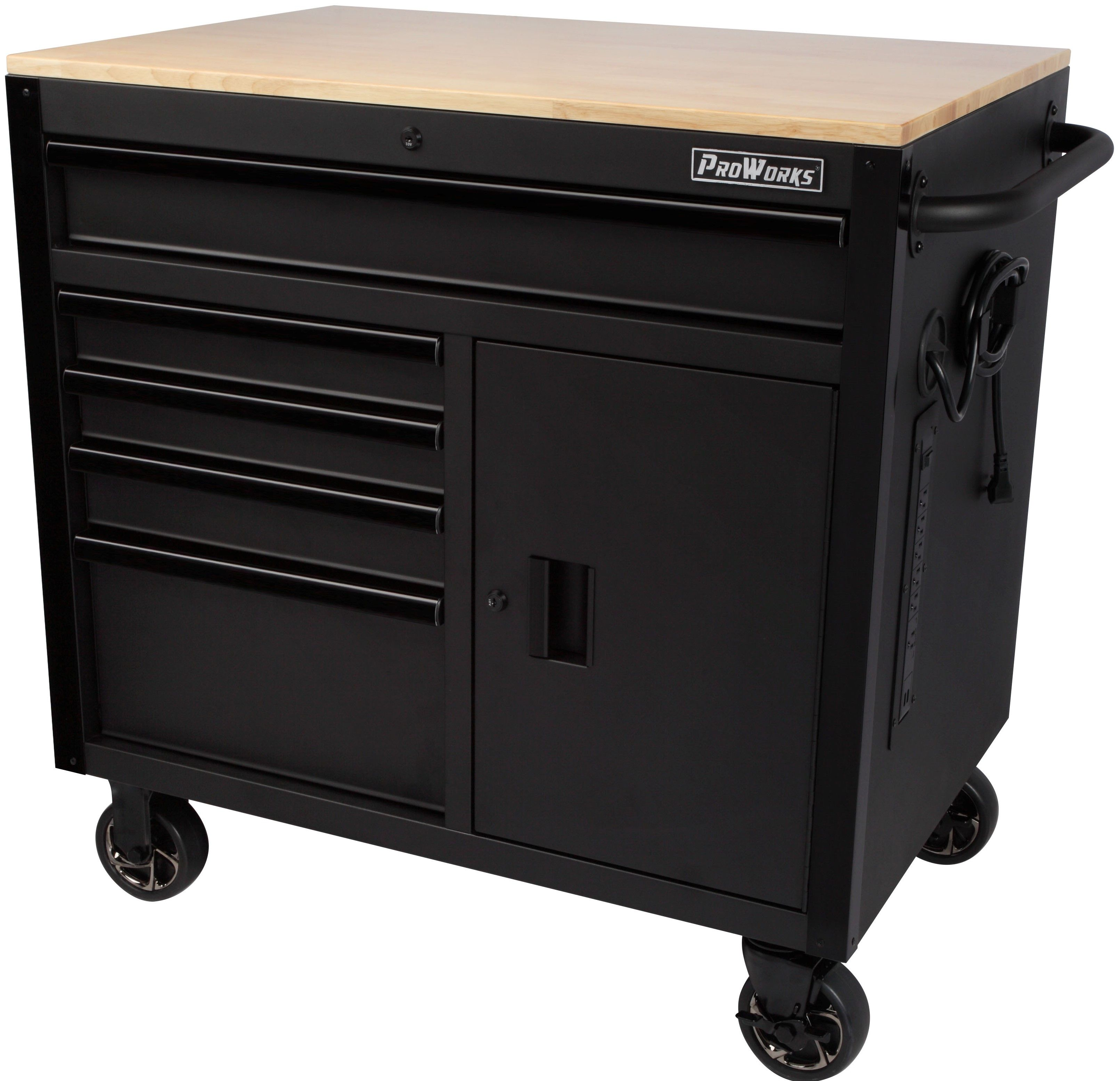Husky 41 In W 12 Drawer Deep Combination Tool Chest And Rolling Cabinet Set In Gloss Black With Side Table Hotc4112b12s Tool Chest Side Table Home Depot