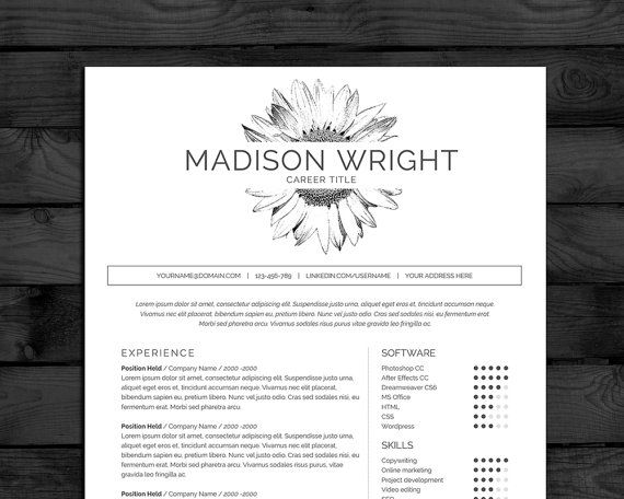 Professional Resume Template For Word In Black White With Sunflower Motif 4 Pages With Cover Resume Template Professional Resume Template Cv Template Free