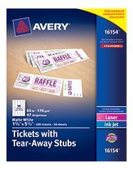 tickets avery tickets with tear away stubs 16154 matte white 1 3