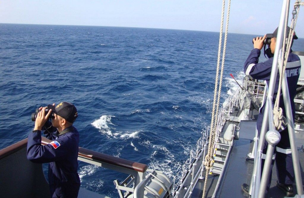 This photo shows the coast guards still looking for the