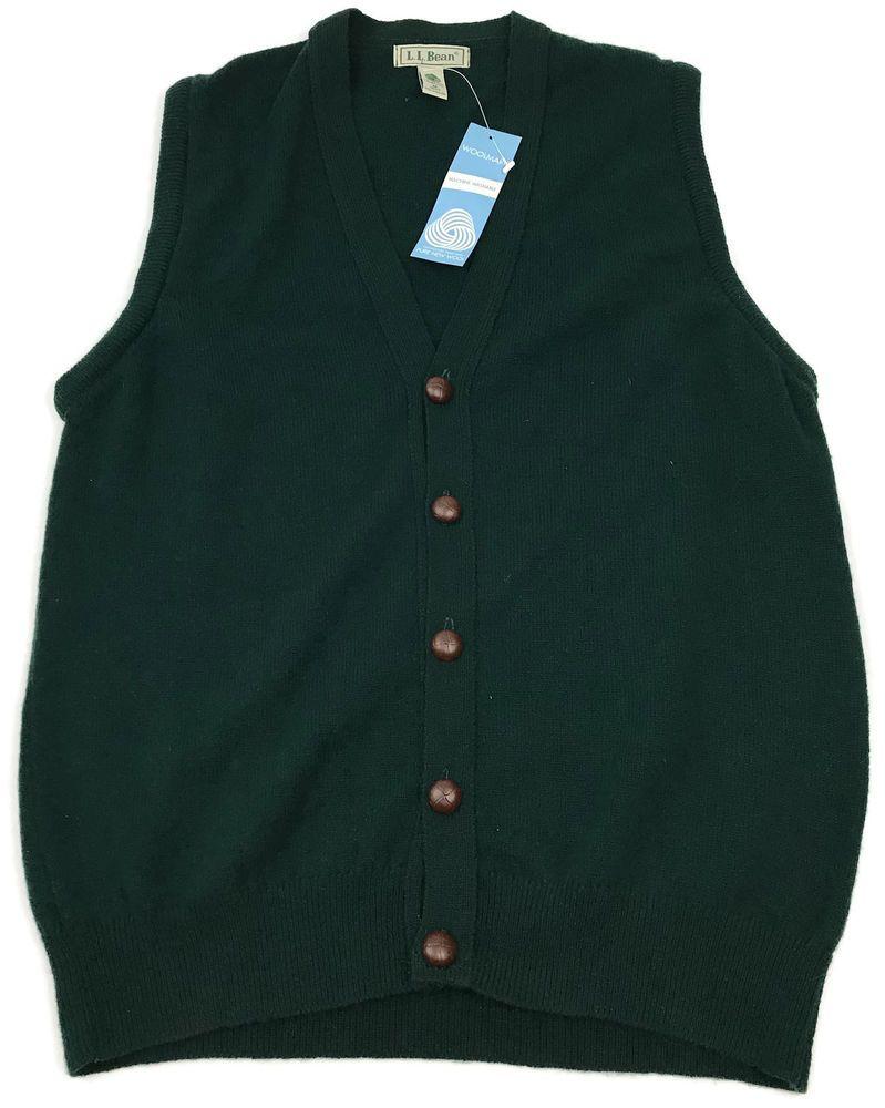 NEW L. L. Bean Cardigan Sweater Vest Medium Mens Argyle Lambswool ...
