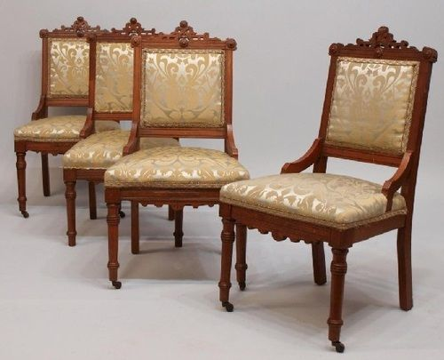 Merveilleux American Victorian Eastlake Chairs, C. 1890.