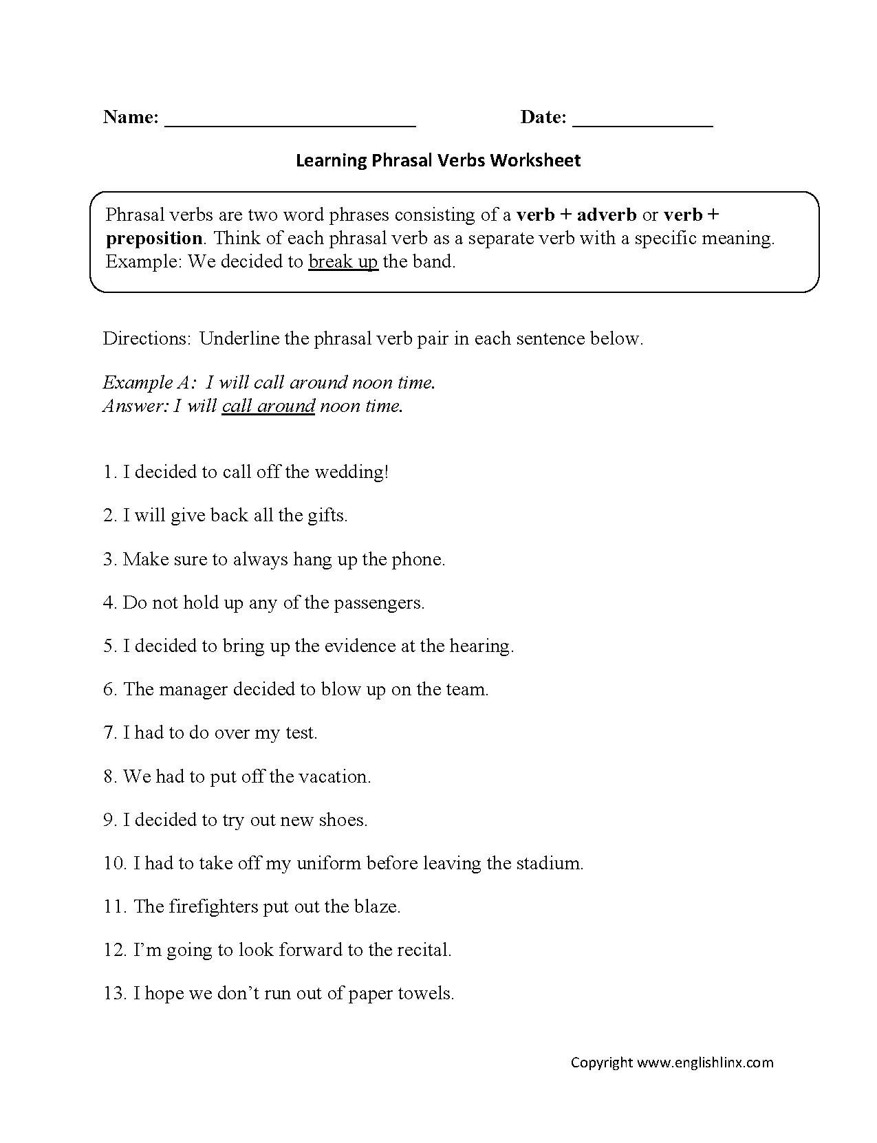 Phrasal Verbs Worksheets 7th Grade English Pinterest