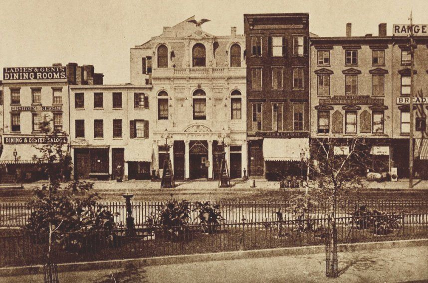 The west side of 6th Ave from Greeley Square, 1870. The buildings here were demolished in 1909 when the Gimbels Department store was built