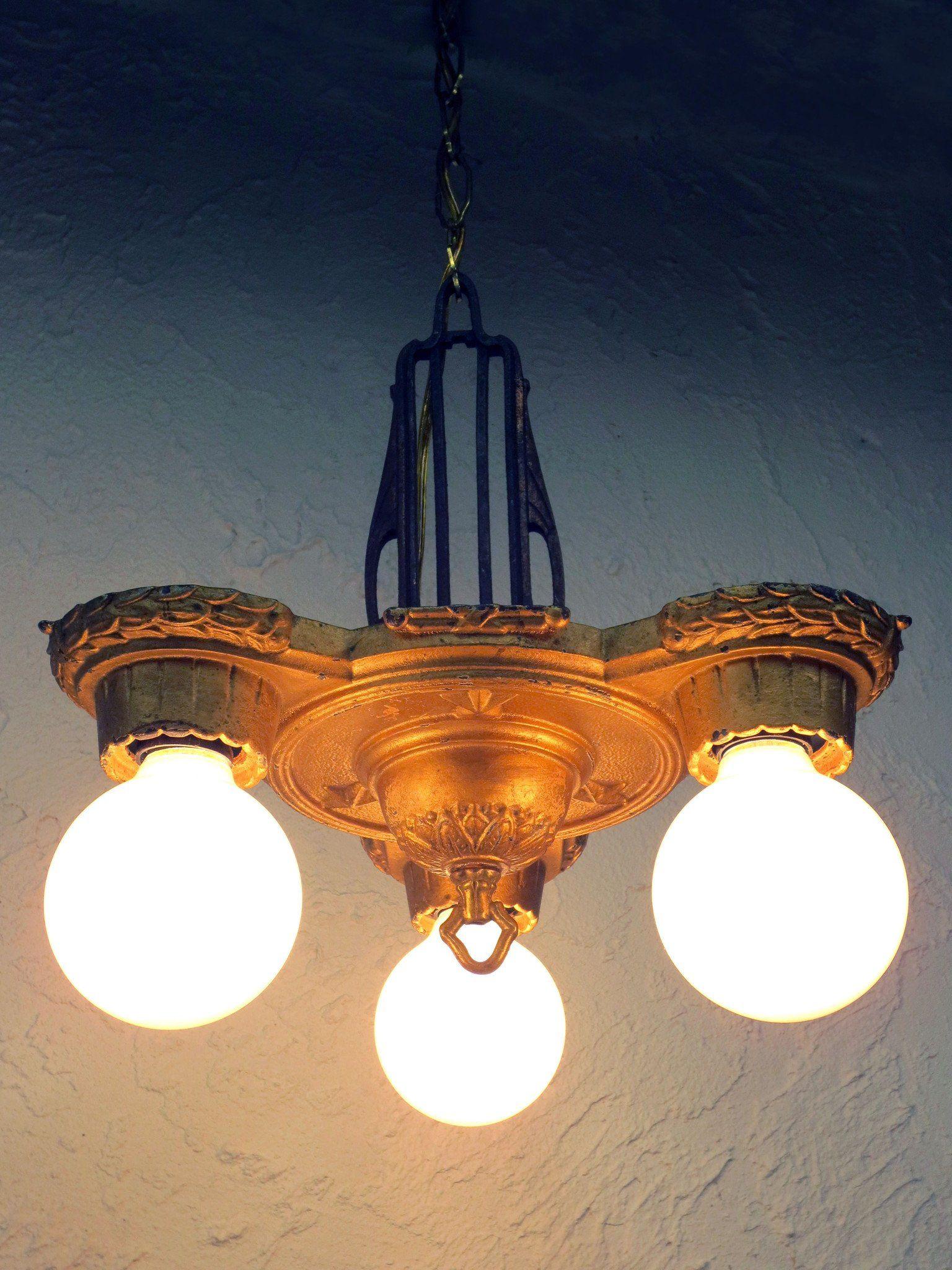 Antique 1920s Markel Art Deco 3 Light Slip Shade Chandelier
