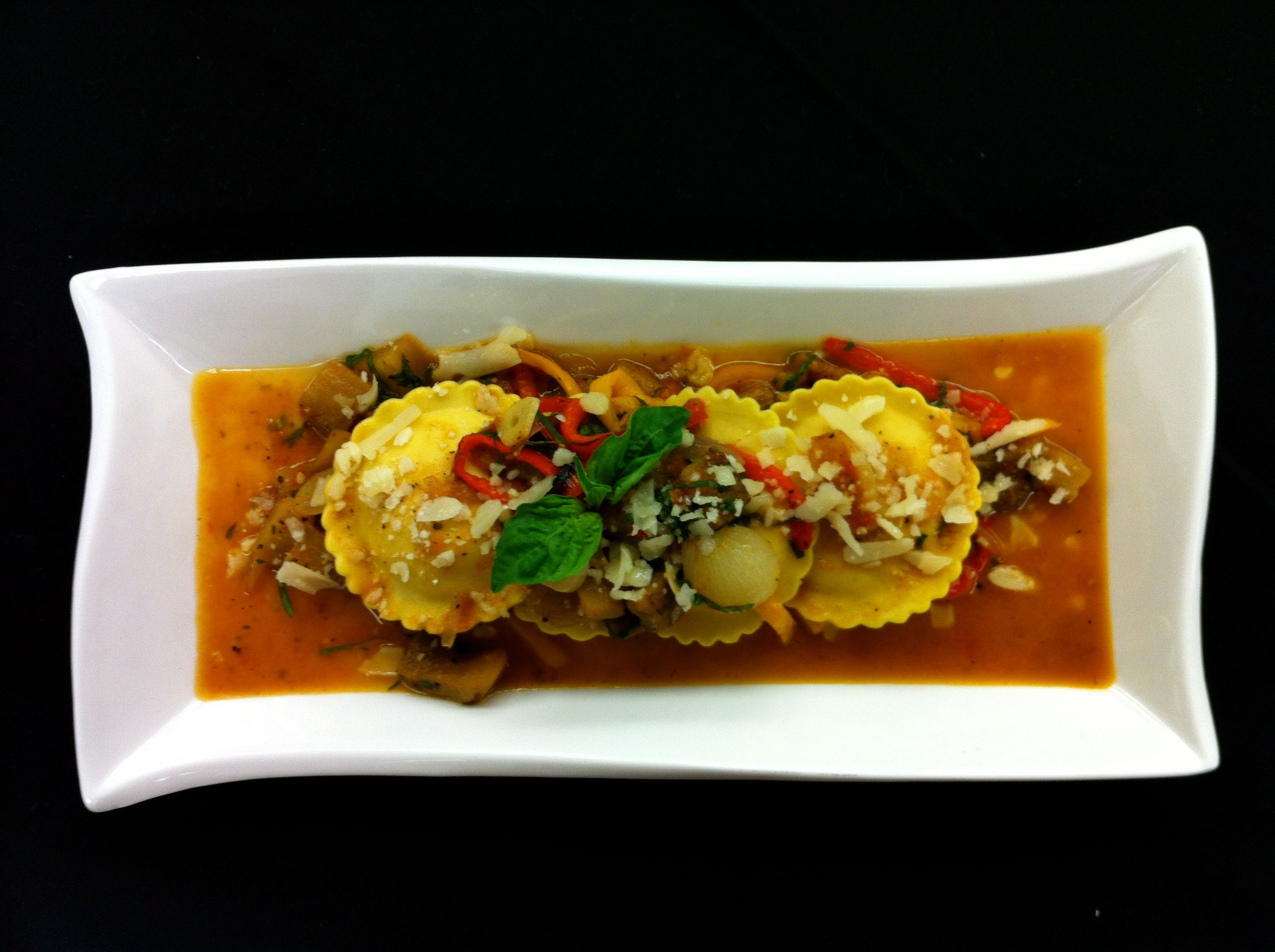 Sweet Corn Polenta Ravioli W Summer Tomato Ratatouille Bogaris Olive Oil Recipe Created By