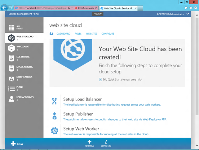 Completion of first WAS4WP configuration stage. Cloud