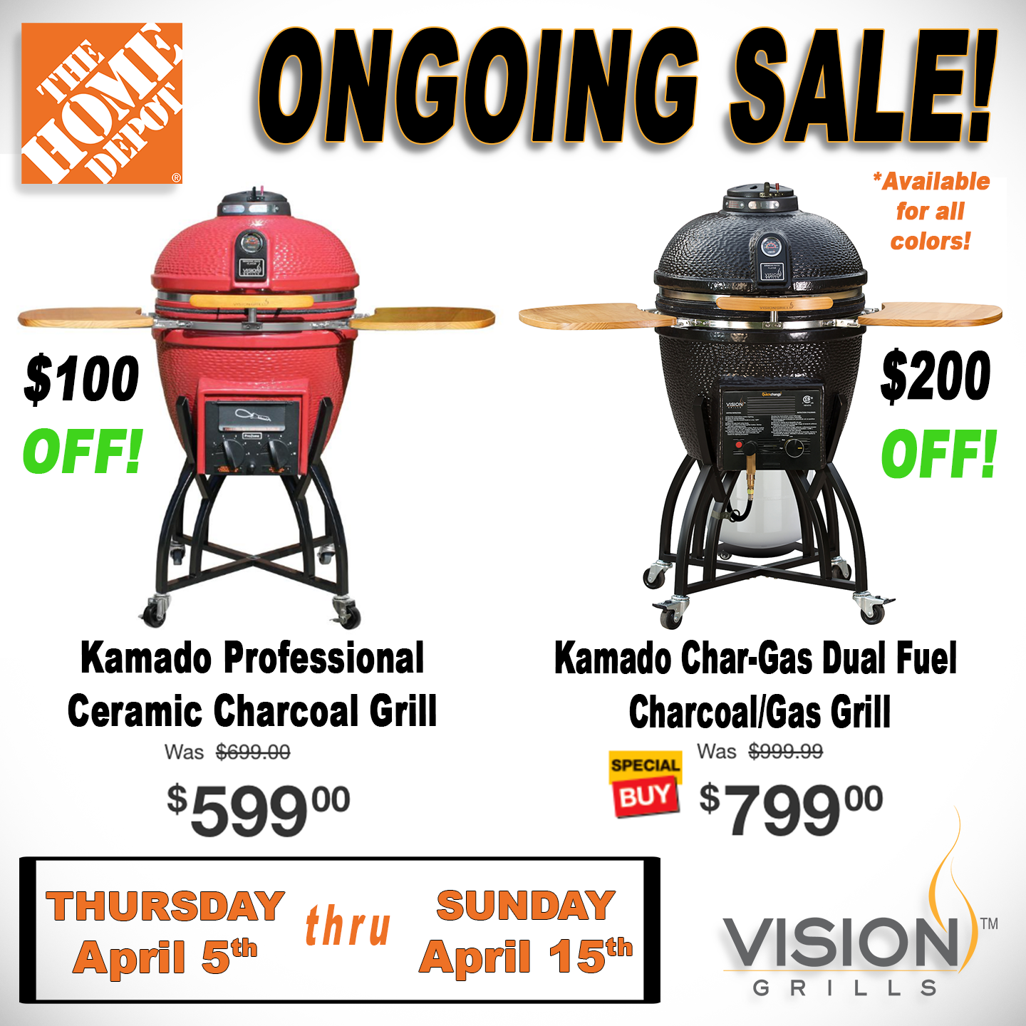 The Home Depot Sale 100 Off Professional S Series Kamado Grills And 200 Off Char Gas Kamado Grill The Sale Ends S Customer Service Week Kamado Grill Kamado