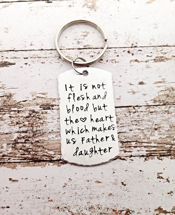 STEP DAD Gift Stepfather Stepdad Gifts For Step Dad Hand Stamped Keychain Fathers Day Stepdads Son Daughter