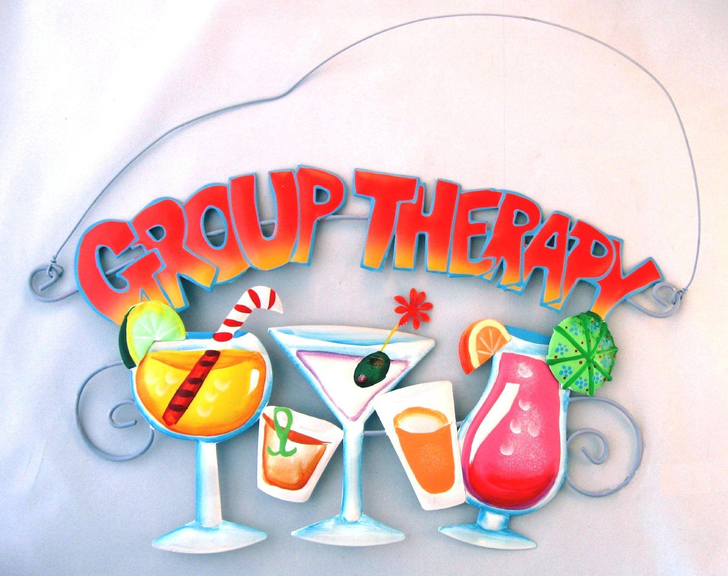 Group therapy metal sign martini tropical for Bar decor amazon