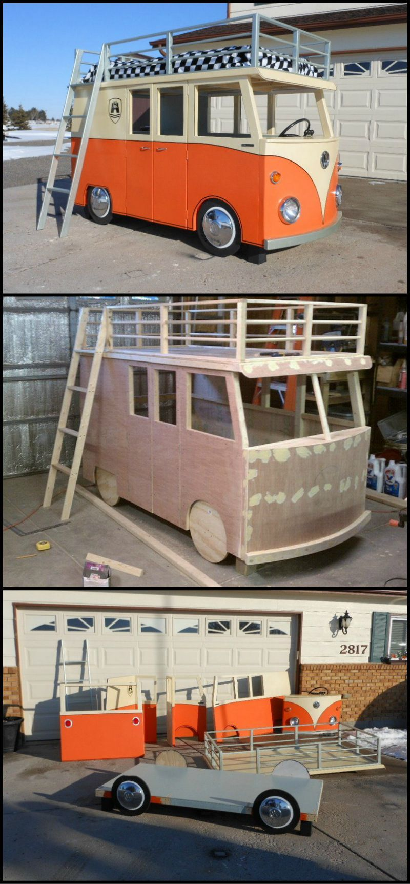 Twin loft bed craigslist  Build Your Kids This VW MicroBus Bunk Bed And Playhouse