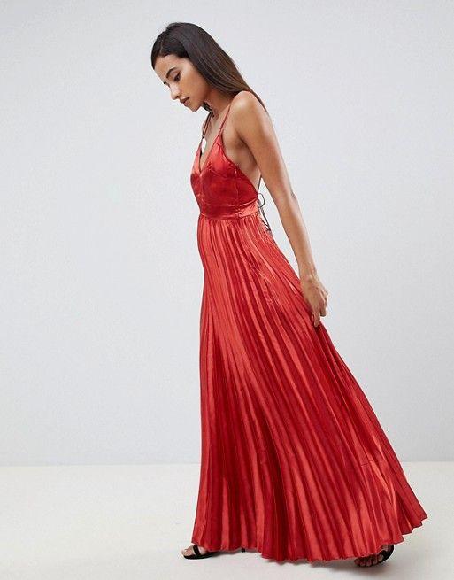 db709e02e25 DESIGN cami pleated satin maxi dress in 2019