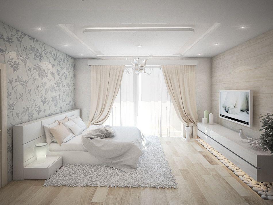 Wohnzimmer in weiß und beige gehalten - Home Entertainment System - wohnzimmer in wei
