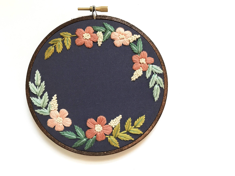 Custom floral wreath wedding embroidery design beginner embroidery