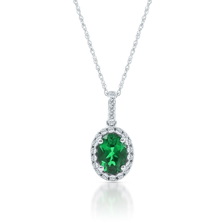 Lab created emerald white sapphire pendant in 10k white gold lab created emerald white sapphire pendant in 10k white gold mozeypictures Image collections