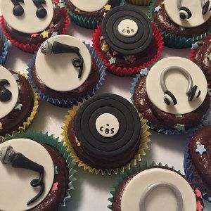 Music DJ Party Cupcake Edible Fondant Toppers Decor bcb743502c