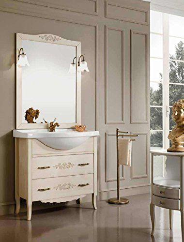 Arredo bagno 85 classico mobile bagno decapato specchio. Bathroom ...