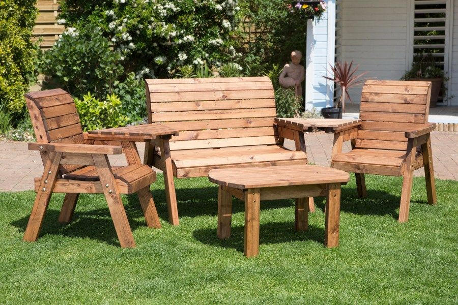 A lovely handcrafted outdoor furniture set made with sustainably sourced  wood and consisting of a two - Four Seater Garden Furniture Set - HB07 Unique Home Decor