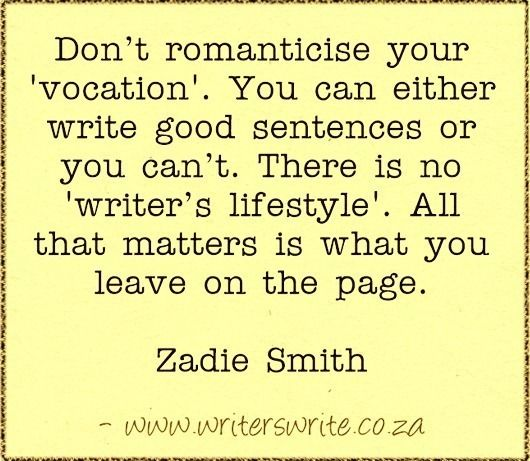 Image result for quote zadie smith the craft of writing
